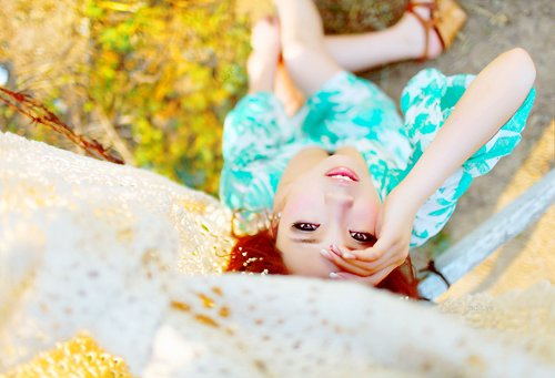 asian, blue, bright, colorful, cute, girl, korean, photography, pretty, smile, stare, ulzzang