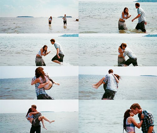 avila11, beach, couple, couples, kiss, liam hemsworth, love, miley cyrus, sea, the last song