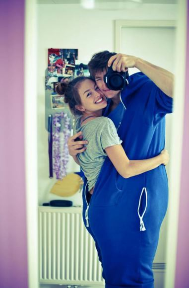 aww, beautiful, blue, boy, couple, cute, girl, jump in, jumpin, jumpsuit, love, slr, smile, sweet