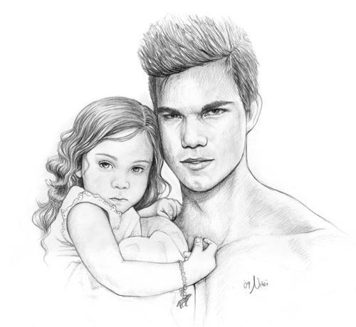 baby, couple, cute, drawing, jacob, love, love forever, renesmee, twilight