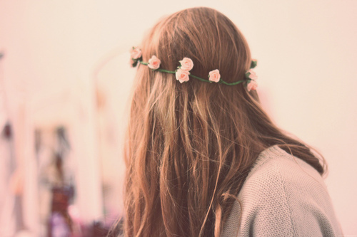 back, beautiful, brown, brown hair, fashion, flower, flowers, garland, girl, hair, long hair, pink, pink flower, pink flowers