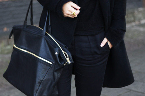bag, black, coat, fashion, style