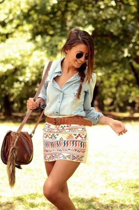 bag, fashion, fur, girl, hair, jeans, plait, shirt, skirt, sunglasses