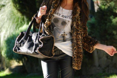 bag, fashion, girl, leather, leopard