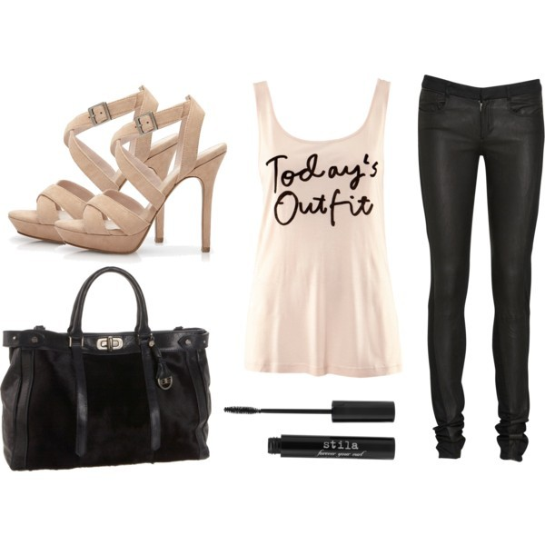 bag, fashion, h&m, high heels, jeans, mascara, polyvore, top