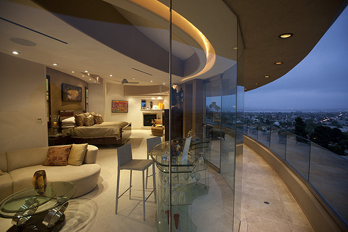balcony, bar, beautiful, bedroom, city, city lights, design, interior, interior design, luxury, sunrise