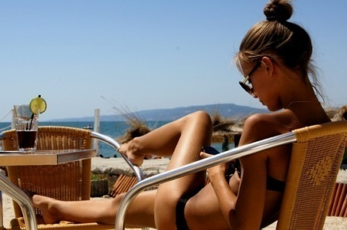 balcony, bikini, summer, sunglasses, sunny, tanned, tanning, texting