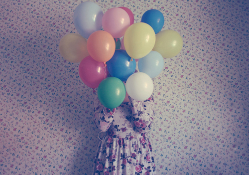 balloons, dress, girl