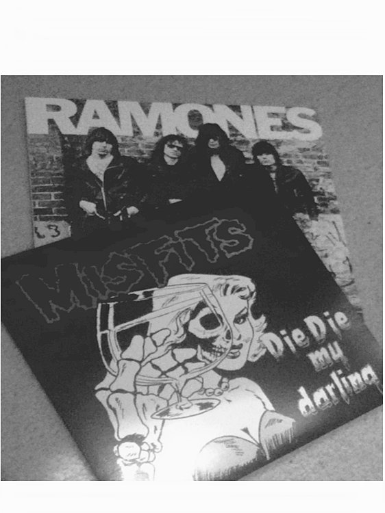 b&w, band, bands, black and white, die die my darling, horror punk, misfits, music, punk, punk band, punk bands, punk rock, ramones, skeleton, skull, vinyl