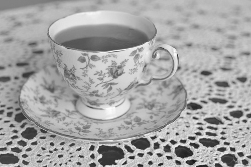 b&w, beautiful, black & white, black and white, cup, floral, flowers, girly, photo, photography, tea, vintage