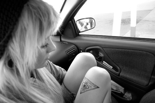 b&w, beautiful, black and white, blonde, car, cute, eye of providence, flesh tunnels, gauges, girl, hair, ink, inked, leg tat, leg tattoo, photo, photography, stretched ears, tat, tattoo, triangle, triangle tattoo, tunnels, woman
