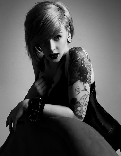 b&w, beautiful, black and white, cool, girl, ink, photography, tattoo