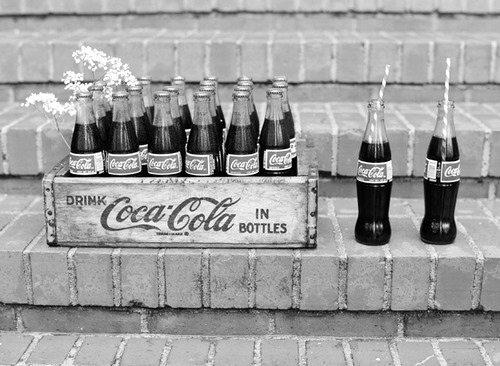 b&w, black & white, black and white, coca cola, coke, cute, flower, old, photo, photography, vintage