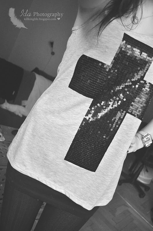 b&w, black, black and white, black white, cross, fashion, outfit, sequin, shirt