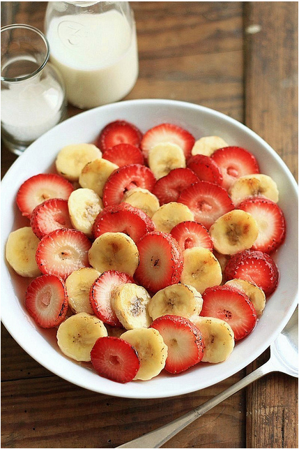 banana, food, milk, strawberries