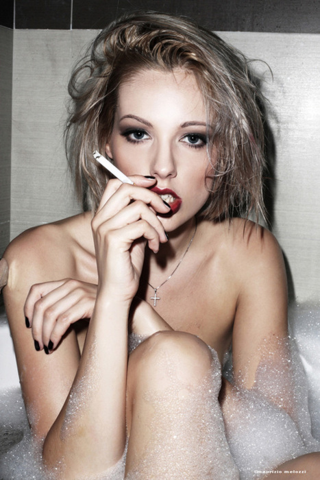 bath, beautiful, blonde, cute, fashion, fashion photography, gorgeous, lipstick, model, photography, photoshoot, pretty, red lipstick, smoking, stunning