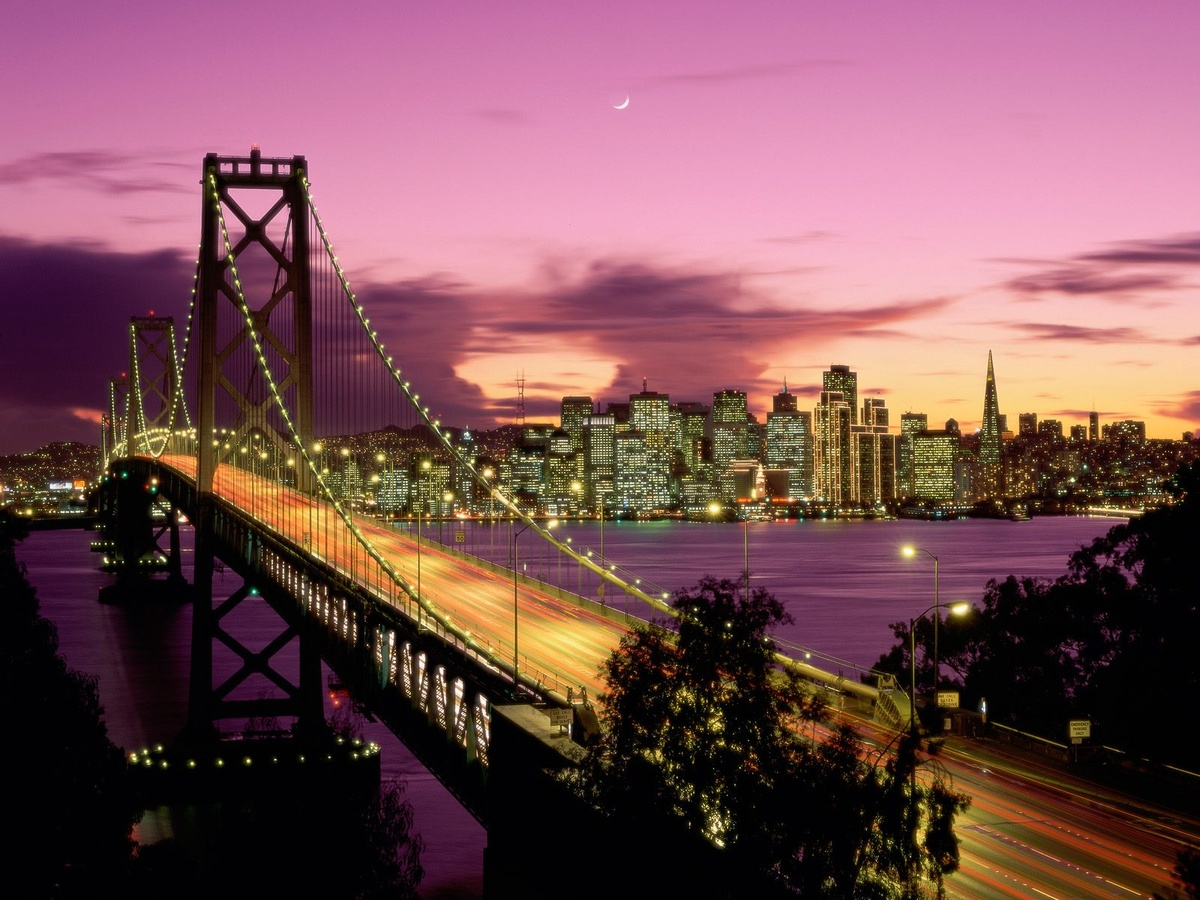 bay bridge, beautiful, bridge, california, city lights