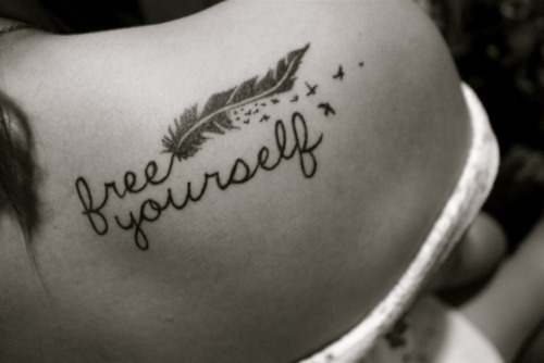 be yourself, black and white, tattoo, text