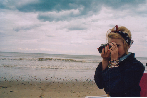 beach, beautiful, blonde, camera, cute, fashion, girl, love, photography, pretty, sea, sky, vintage