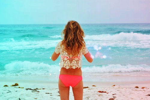 beach, bikini, blonde, girl, lace, ocean, pink, pretty, sand, summer