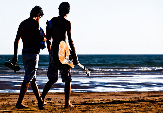 beach, friends, guitar, photography, playa