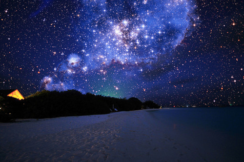 beach, night, stars