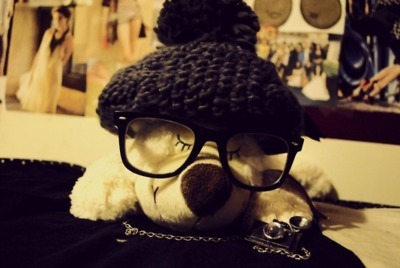 beanie, bear, cute, cutie, glasses