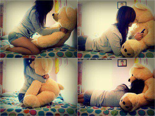 bear, beautifu, brown, girl, love