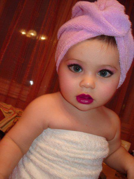 Beautiful baby, cute, eyes, girl, lips stick, sick