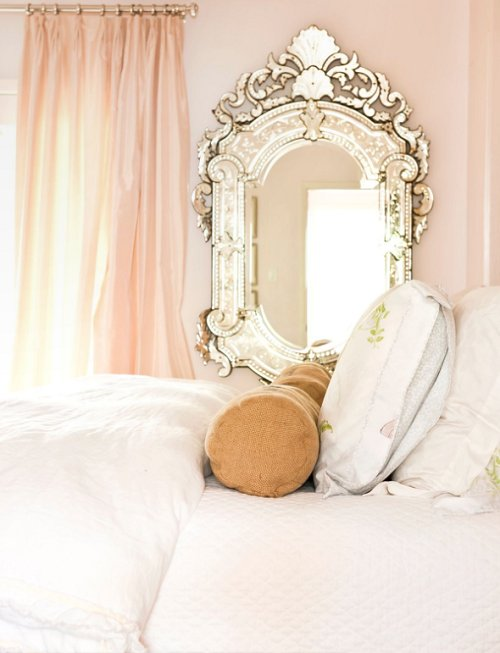 Beautiful bedroom girly light pink image 438229 on for Fancy mirrors for bedrooms