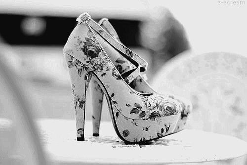beautiful, black and white, cute, flowers, heel