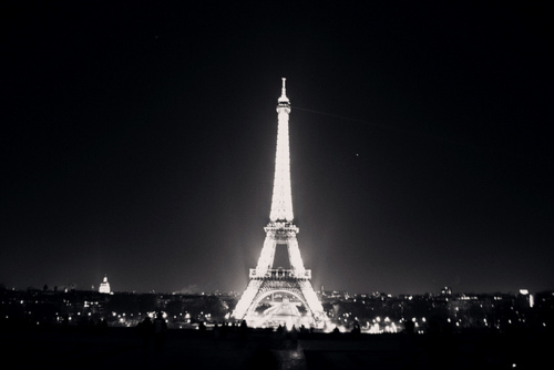 beautiful, black and white, eiffel tower, light, paris