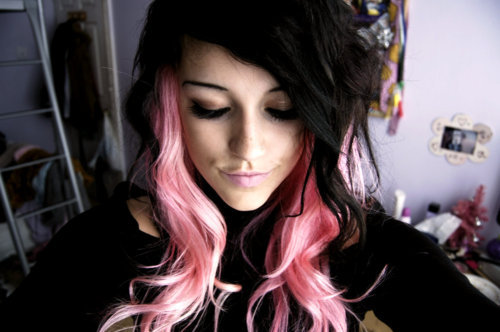 beautiful, black hair, coloured hair, dyed hair, fashion, girl, hairspiration, pink hair
