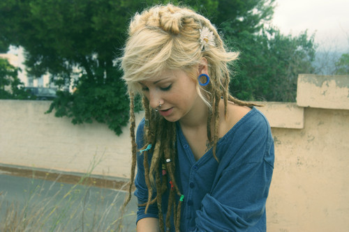 beautiful, blonde, blonde hair, cute, cute girl, dreads, gauges, girl, gorgeous, hair, piercings, pretty