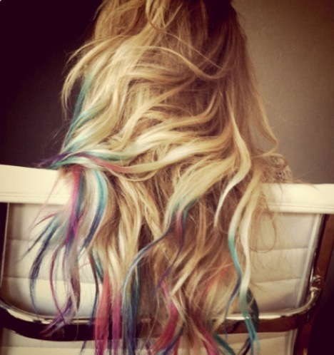 beautiful, blonde, blue, colorful, hair, pink