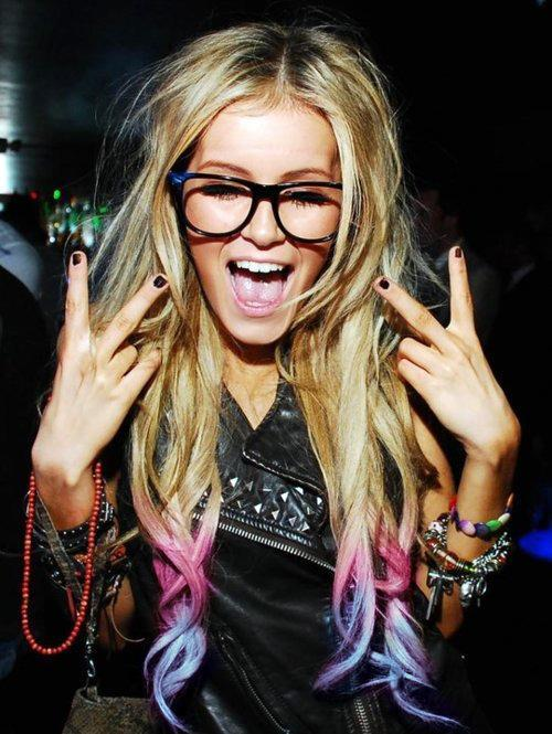 beautiful, blonde, dip dye, nerd glasses, party, peace, rave