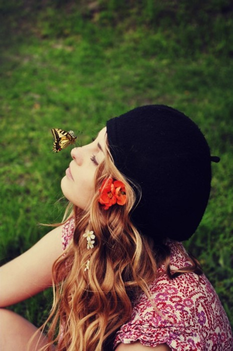 beautiful, blondie, butterfly, colorful, cool, curly hair, cute, girl, grass, hair, nature, pretty, sweet