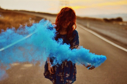 beautiful, blue, curls, girl, hair, pretty, smoke, think