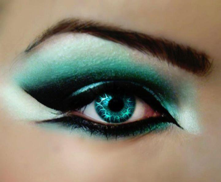 beautiful, blue, eyes, girl, green make up