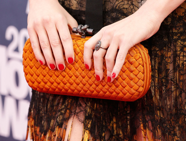 beautiful, bottega veneta, clutch, cute, dress, emma stone, fashion, girl, nails, orange, red, ring