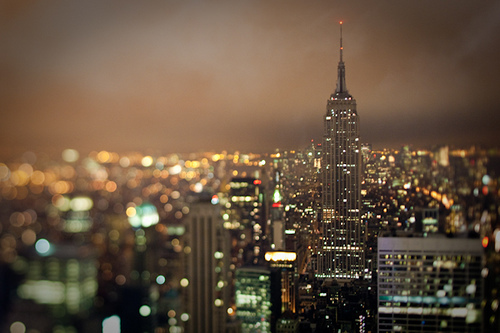 beautiful, city, empire state building, grey, lights