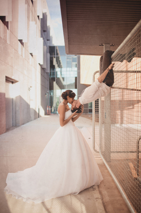 beautiful, couple, cute, gorgeous, husband and wife, kiss, love, romantic, tan, wedding, wedding dress, white