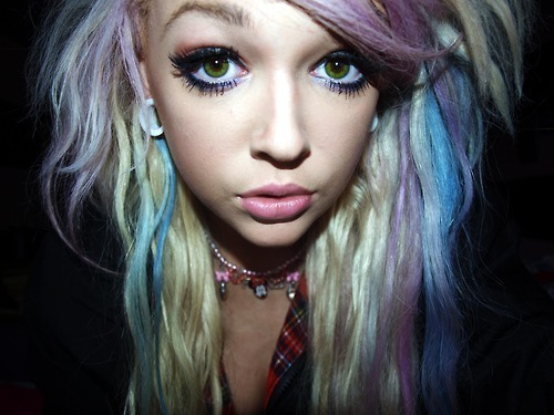 beautiful, cute, eyes, gal, girl, gorgeous, green, hair, hip, hipster, life, love, makeup, necklace, pretty, prety, rainbow, scene, scenester, slut