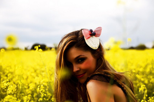 beautiful, cute, flowers, girl, hair, loop, make, nature, perfect, photograph, sky, yellow