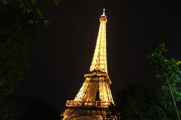 beautiful, eiffel tower, france, light up, night