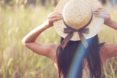 beautiful, field, girl, hat, pretty