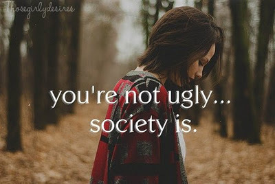 beautiful, girl, society, text, ugly