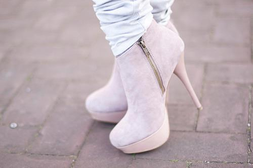 beautiful, high heels, jeans, pink, plateau