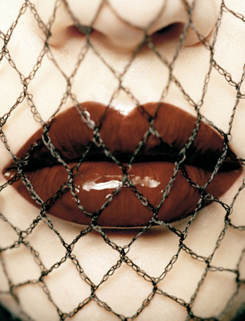 beauty, fashion, fishnets, girl, gloss