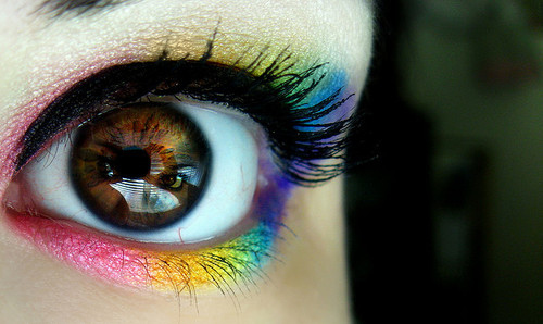 beauty, look in the iris, make up, makeup, reflection